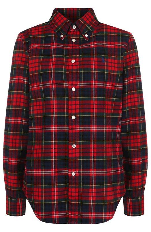 Купить Хлопковая блуза свободного кроя в клетку Polo Ralph Lauren, 211681410, Китай, Красный, Хлопок: 100%;