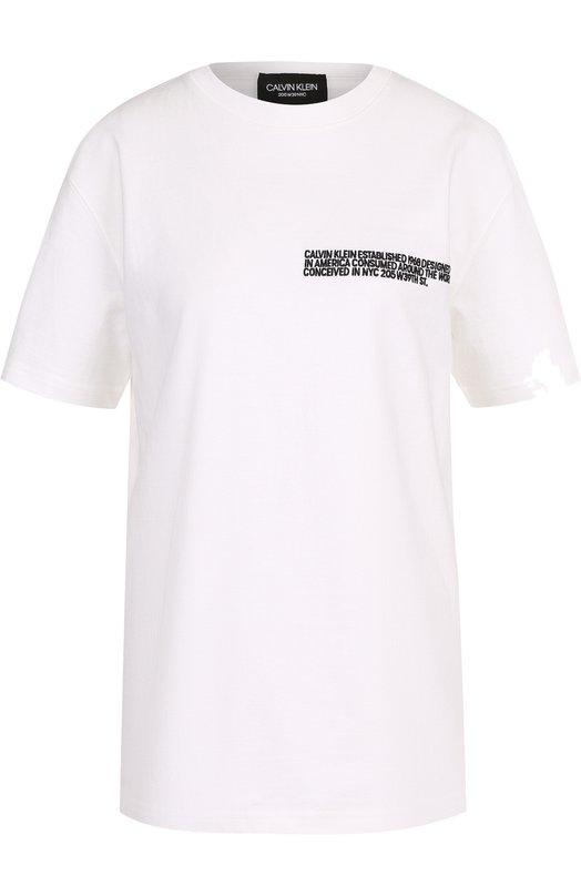 Купить Хлопковая футболка с контрастной надписью CALVIN KLEIN 205W39NYC, 81WWTB47/C182, Италия, Белый, Хлопок: 100%;