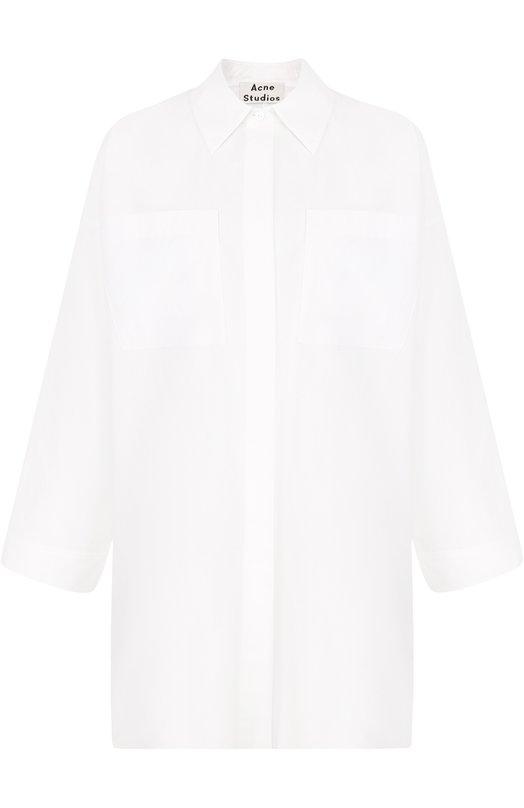 Купить Однотонная хлопковая блуза свободного кроя Acne Studios, 14E176, Китай, Белый, Хлопок: 100%;