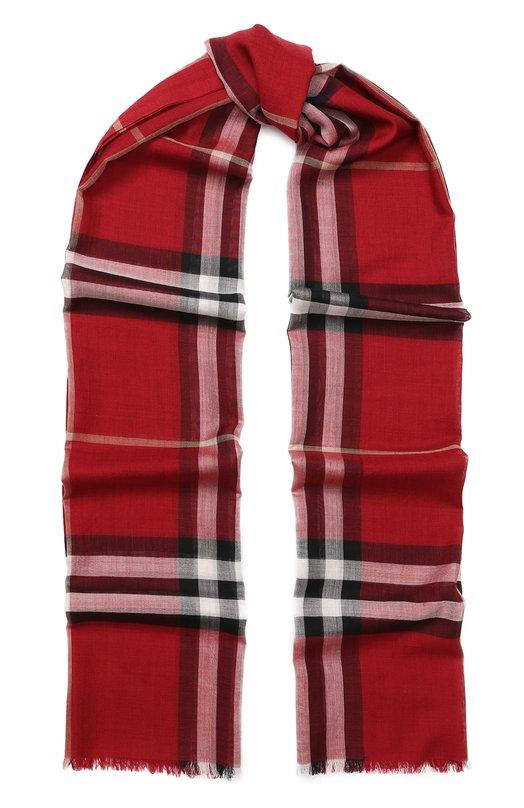 Купить Шарф из смеси шерсти и шелка в клетку Burberry, 3954620, Италия, Красный, Шерсть: 51%; Шелк: 49%;