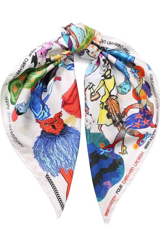 Купить Шелковый платок с принтом Christian Lacroix, 00037/2768/JP206, Италия, Белый, Шелк: 100%;