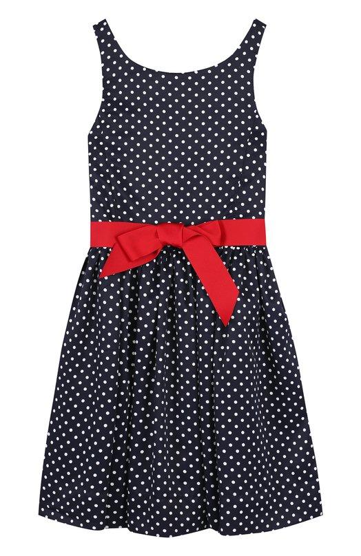 Купить Приталенное платье с контрастным поясом Polo Ralph Lauren, 313680533, Китай, Синий, Полиэстер: 100%; Подкладка-полиэстер: 100%;