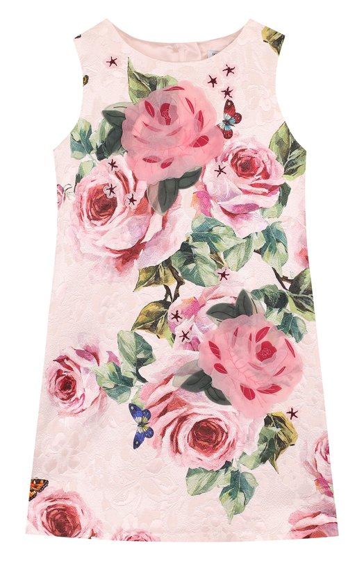 Купить Мини-платье из хлопка и шелка с принтом и аппликациями Dolce & Gabbana, L53D09/FSM9W/8-14, Венгрия, Розовый, Хлопок: 84%; Шелк: 16%; Подкладка-вискоза: 100%;