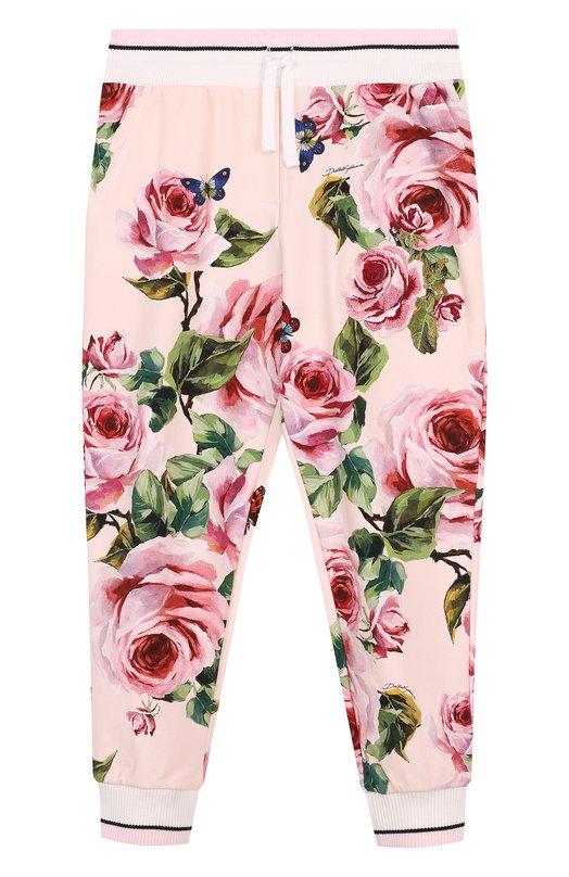 Купить Хлопковые джоггеры с принтом Dolce & Gabbana, L5JP3M/G7MLL/8-14, Италия, Розовый, Хлопок: 90%; Эластан: 10%;