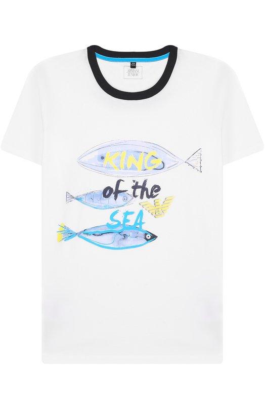 Купить Хлопковая футболка с принтом Armani Junior, 3Z4T01/4J09Z/11A-16A, Тунис, Белый, Хлопок: 100%;