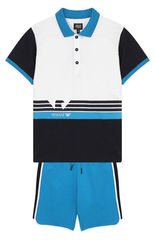 Купить Хлопковый комплект из футболки и шорт Armani Junior, 3Z4V05/4JFFZ/11A-16A, Китай, Темно-синий, Хлопок: 100%;