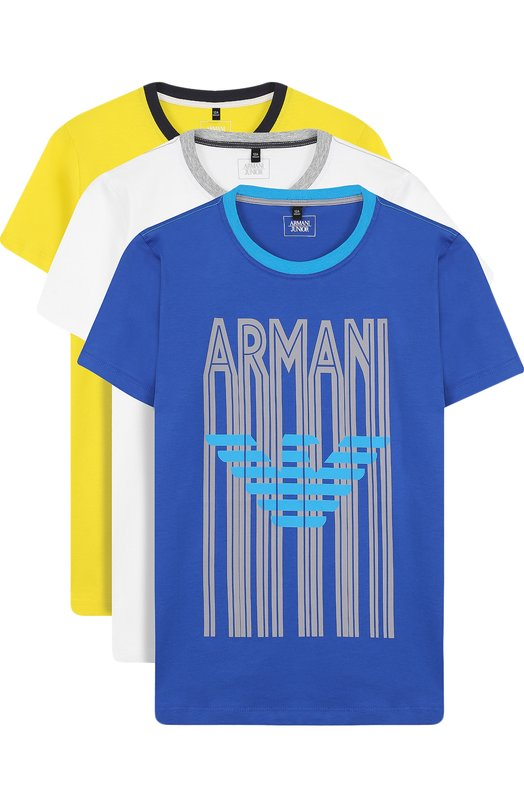 Купить Комплект из трех футболок с принтом Armani Junior, 3Z4D01/4J22Z/11A-16A, Маврикий, Синий, Хлопок: 100%;