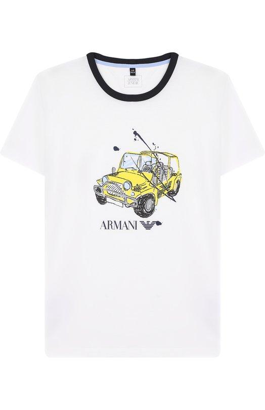 Купить Хлопковая футболка с принтом Armani Junior, 3Z4T01/4J09Z/4A-10A, Тунис, Белый, Хлопок: 100%;