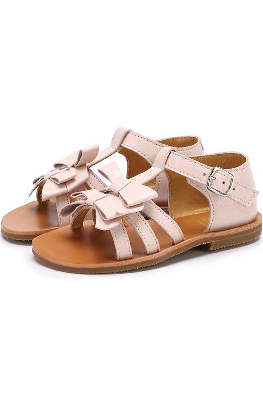 Купить Кожаные сандалии с бантами Gallucci, T10010AT9V0304A, Италия, Розовый, Кожа натуральная: 100%; Стелька-кожа: 100%; Подошва-резина: 100%;