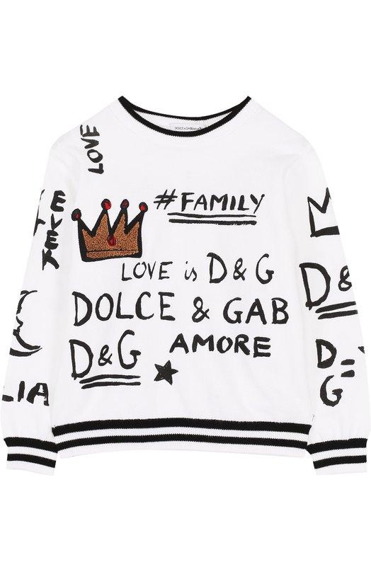 Купить Хлопковый пуловер с принтом и аппликацией Dolce & Gabbana, L44K33/LK6G7/2-6, Италия, Белый, Хлопок: 100%;