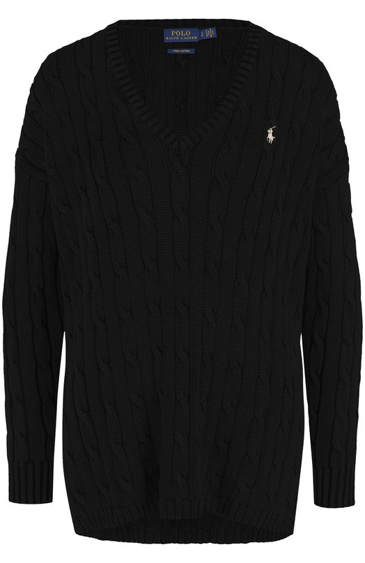 Купить Хлопковый пуловер фактурной вязки с V-образным вырезом Polo Ralph Lauren, 211591795, Китай, Черный, Хлопок: 100%;