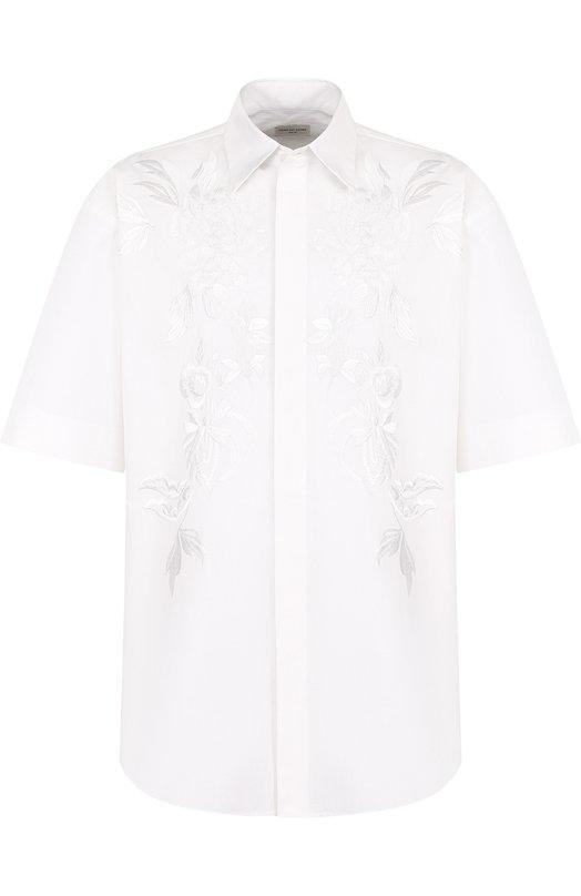 Купить Хлопковая рубашка свободного кроя с вышивкой Dries Van Noten, 181-20740-5240, Индия, Белый, Хлопок: 100%;