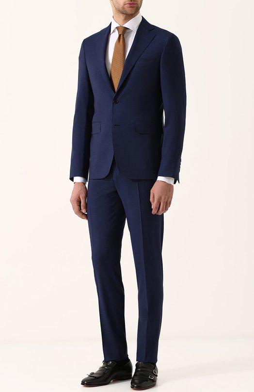 Купить Шерстяной костюм с пиджаком на двух пуговицах Canali, 25280/50/AA01524, Италия, Темно-синий, Шерсть: 100%; Подкладка-купра: 100%;