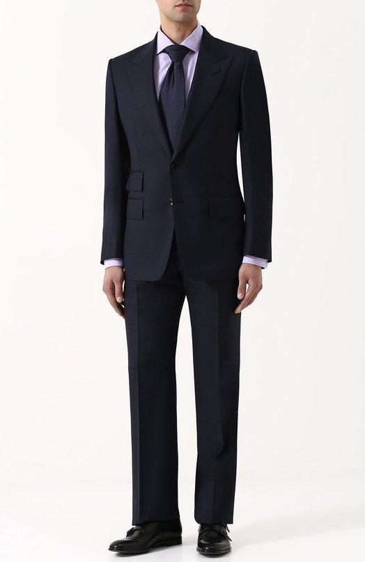 Купить Шерстяной костюм с пиджаком на двух пуговицах Tom Ford, 322R08/21AL41, Швейцария, Темно-синий, Подкладка-шелк: 50%; Подкладка-купра: 50%; Шерсть: 100%;