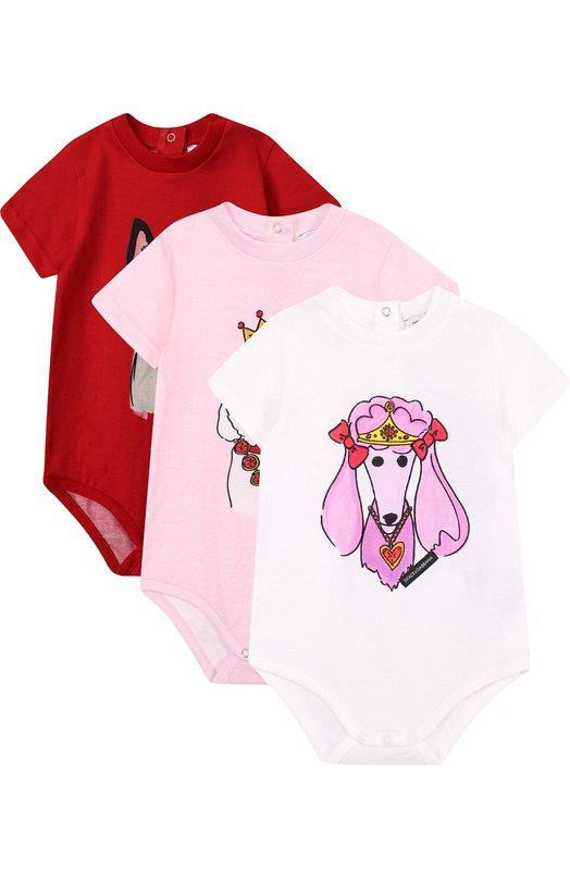 Купить Хлопковый комплект из трех боди с принтом Dolce & Gabbana, L2J0I5/G7NGS, Италия, Разноцветный, Хлопок: 100%;