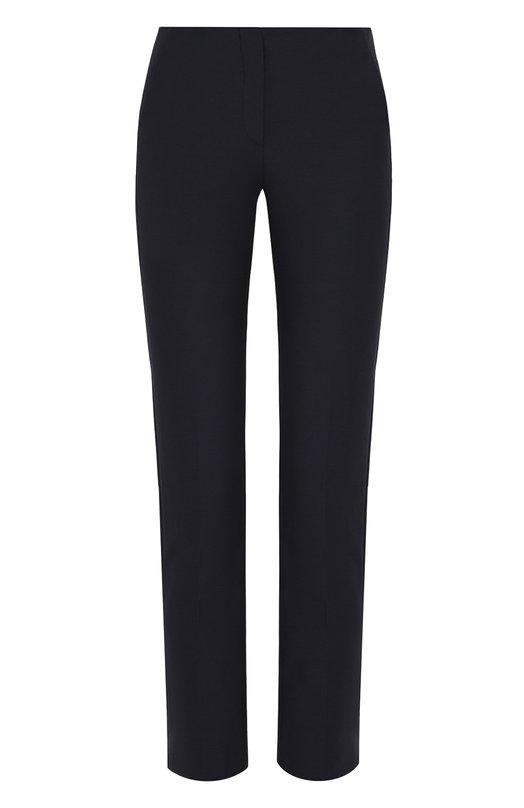 Купить Укороченные однотонные брюки со стрелками Emporio Armani, 0NP42T/0M004, Болгария, Темно-синий, Хлопок: 55%; Полиамид: 35%; Эластан: 10%;