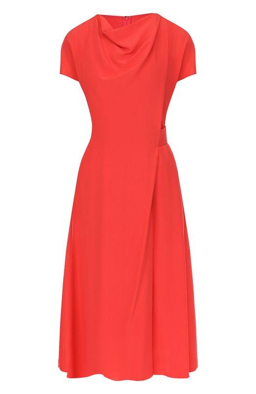 Купить Приталенное шелковое платье-миди с драпировкой Emporio Armani, WNA36T/W2301, Румыния, Красный, Шелк: 100%; Подкладка-полиэстер: 100%;