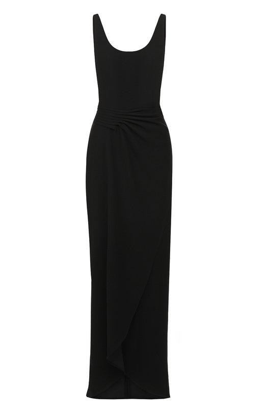Купить Однотонное платье-макси с драпировкой Emporio Armani, WNA20T/WM015, Китай, Черный, Подкладка-полиэстер: 95%; Подкладка-эластан: 5%; Полиэстер: 100%;
