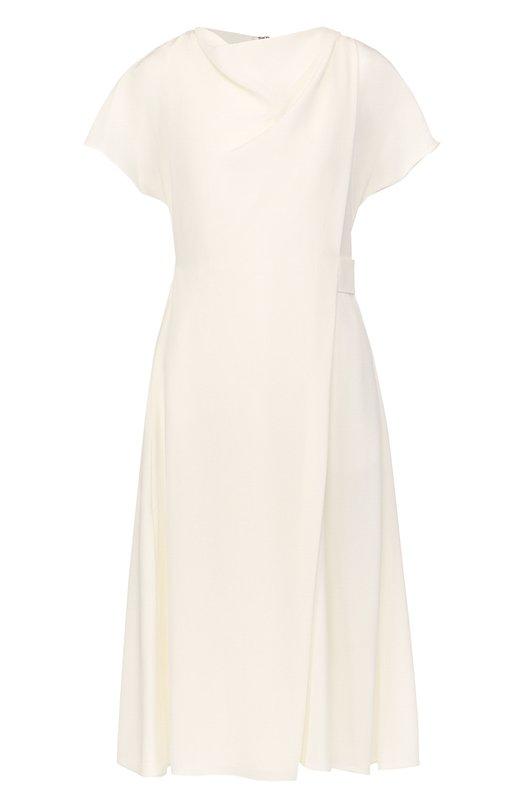 Купить Приталенное шелковое платье-миди с драпировкой Emporio Armani, WNA36T/W2301, Румыния, Белый, Шелк: 100%; Подкладка-полиэстер: 100%;