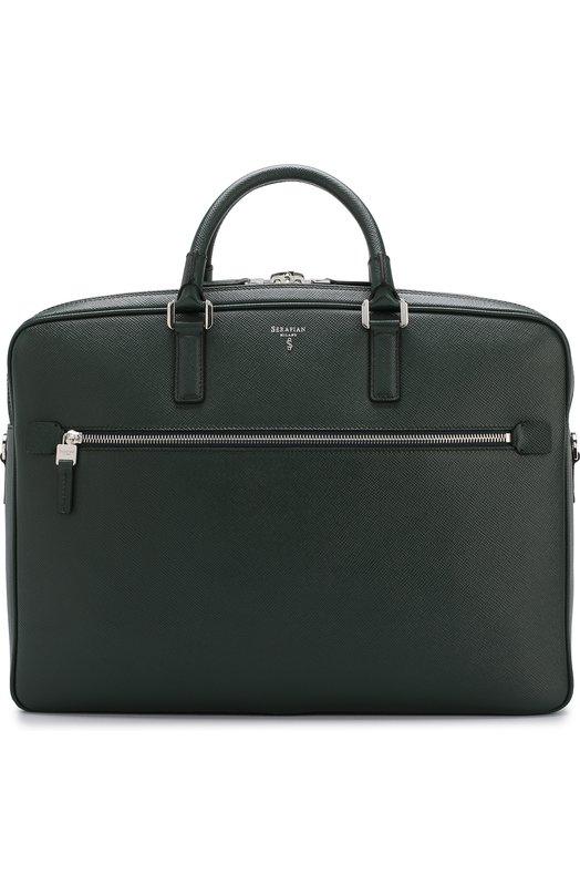 Купить Кожаная сумка для ноутбука Serapian, SEV0EMLL5969M40B, Италия, Темно-зеленый, Кожа натуральная: 100%;