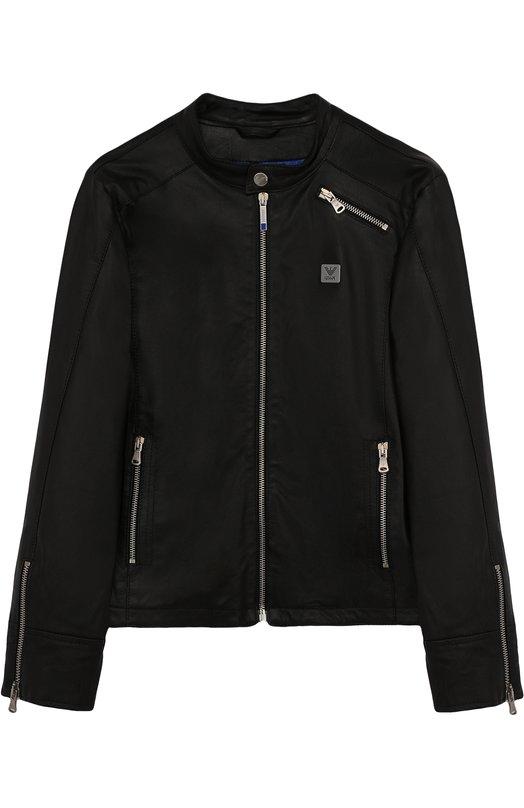 Купить Кожаная куртка с воротником-стойкой Armani Junior, 3Z4B06/4L00Z/11A-16A, Италия, Черный, Кожа натуральная: 100%; Подкладка-полиамид: 100%;