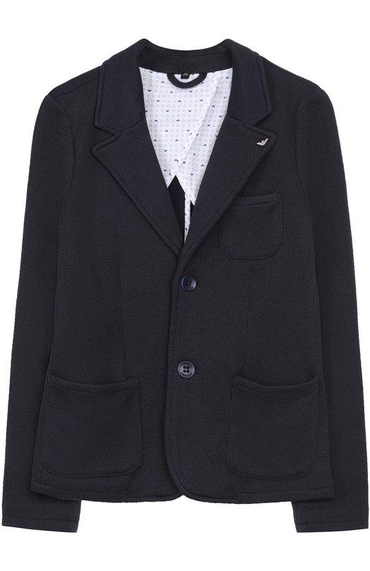 Купить Однобортный пиджак джерси Armani Junior, 3Z4G01/4JFBZ/11A-16A, Китай, Темно-синий, Подкладка-хлопок: 98%; Полиэстер: 65%; Хлопок: 22%; Подкладка-эластан: 2%; Вискоза: 13%;