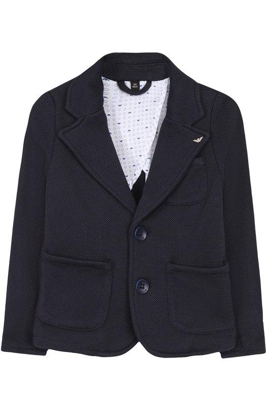 Купить Однобортный пиджак джерси Armani Junior, 3Z4G01/4JFBZ/4A-10A, Китай, Темно-синий, Подкладка-хлопок: 98%; Полиэстер: 65%; Хлопок: 22%; Подкладка-эластан: 2%; Вискоза: 13%;