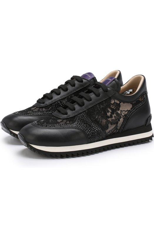 Купить Комбинированные кроссовки с кружевной отделкой Le Silla, L69080/20M1PPLAC, Италия, Черный, Стелька-кожа: 100%; Подошва-резина: 100%; Отделка кожа натуральная: 100%; Текстиль: 100%;