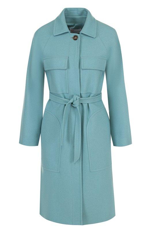 Купить Однотонное шерстяное пальто с поясом REDVALENTINO, PR3CA1I6/0ET, Италия, Голубой, Шерсть: 80%; Полиамид: 20%;