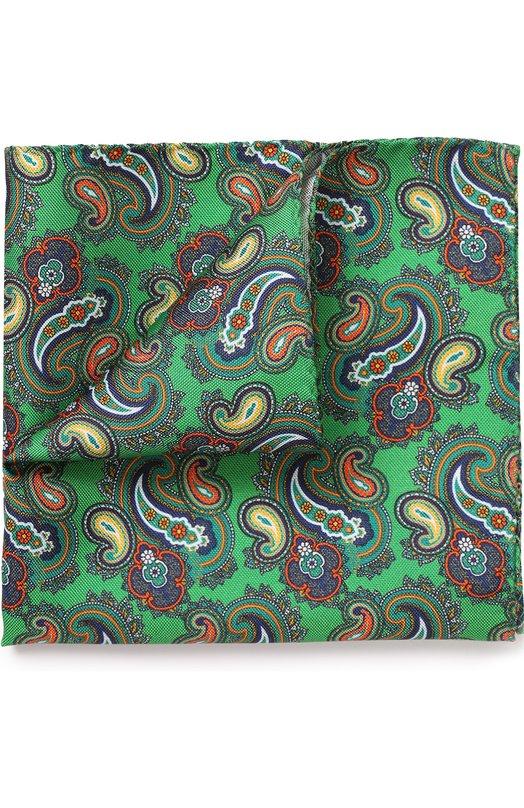 Купить Шелковый платок с узором пейсли Eton, A000 30472, Италия, Зеленый, Шелк: 100%;
