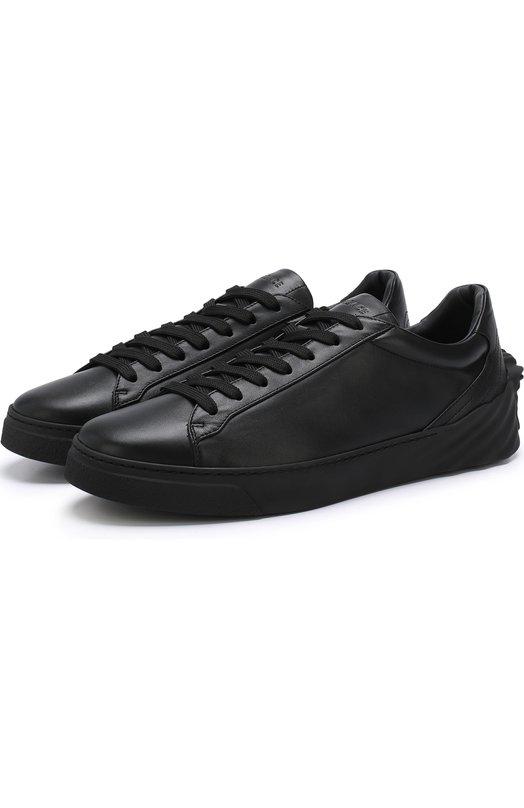 Купить Кожаные кеды на шнуровке с декором Versace, DSU6701/DVG3G, Италия, Черный, Кожа натуральная: 100%; Стелька-кожа: 100%; Подошва-резина: 100%;