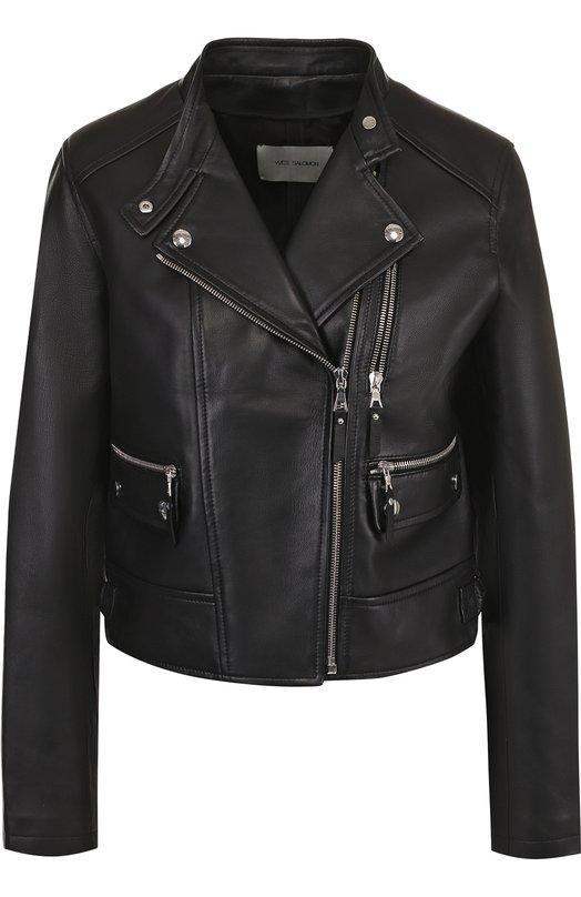 Купить Укороченная кожаная куртка с косой молнией Yves Salomon, 8EYV26950APSY, Франция, Черный, Подкладка-шелк: 100%; Кожа натуральная: 100%;