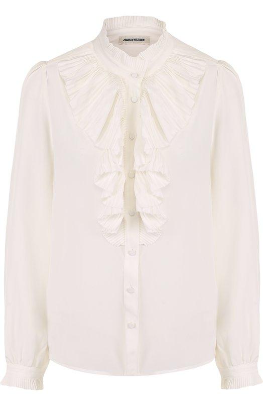 Купить Шелковая блуза с воротником-стойкой и плиссированным оборками Zadig&Voltaire, SGCP0502F, Китай, Белый, Шелк: 100%;