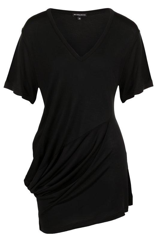 Купить Однотонная удлиненная футболка с драпировкой Ann Demeulemeester, 1801-2504-P-221-099, Португалия, Черный, Вискоза: 100%;