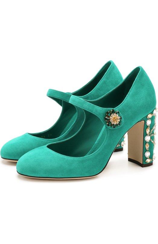 Купить Замшевые туфли Vally на декорированном каблуке Dolce & Gabbana, CD0684/AI884, Италия, Зеленый, Стелька-кожа: 100%; Подошва-кожа: 100%; Замша натуральная: 100%;