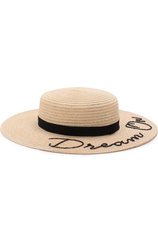 Купить Шляпа Colette с лентой и аппликацией Eugenia Kim, 21018-30118, США, Бежевый, Пенька: 90%; Полиэстер: 10%;