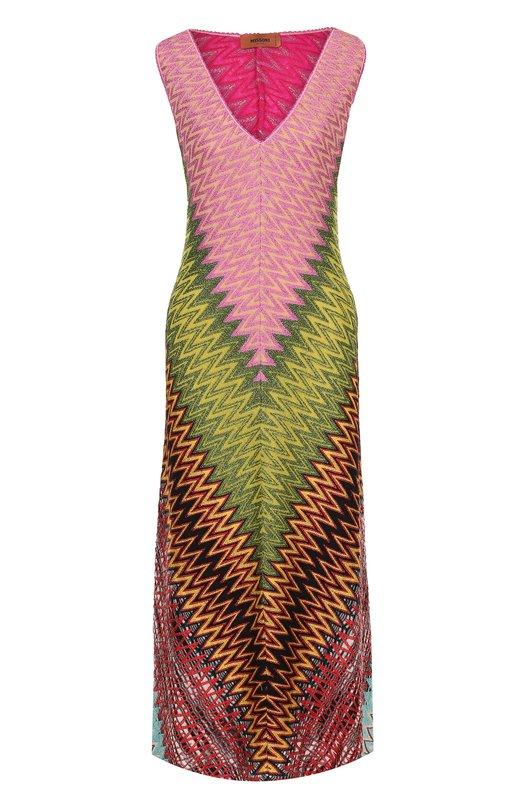 Купить Приталенное вязаное платье-миди с V-образным вырезом Missoni, E18.MD.210270, Италия, Разноцветный, Шелк: 96%; Полиэстер: 7%; Шерсть: 41%; Эластан: 4%; Вискоза: 39%; Купра: 13%;