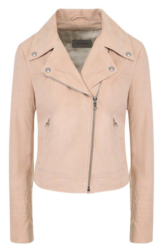 Купить Укороченная замшевая куртка с косой молнией Yves Salomon, YE48550AVSY, Франция, Розовый, Подкладка-шелк: 100%; Замша натуральная: 100%;