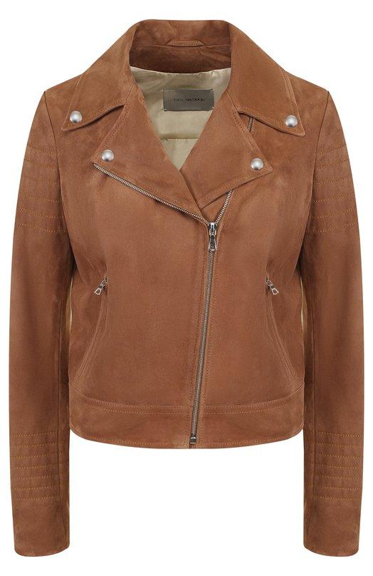 Купить Укороченная замшевая куртка с косой молнией Yves Salomon, YE48550AVSY, Франция, Коричневый, Подкладка-шелк: 100%; Замша натуральная: 100%;