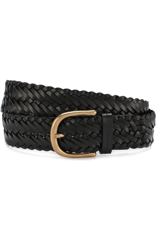 Купить Плетеный кожаный ремень с металлической пряжкой Tom Ford, 118TB212M-IC7, Италия, Черный, Кожа натуральная: 100%; Пряжка-мет.сплав: 100%;
