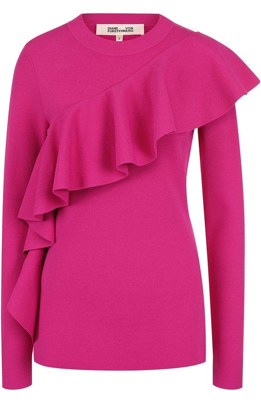 Однотонный пуловер из вискозы с оборкой Diane Von Furstenberg