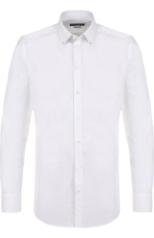 Купить Хлопковая сорочка с воротником кент Dolce & Gabbana, G5EY8Z/FU5GK, Италия, Белый, Хлопок: 100%;