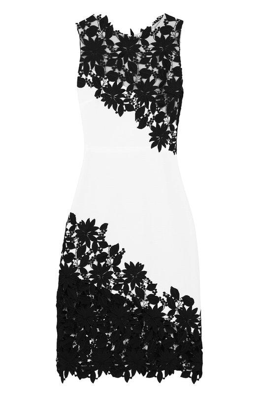 Купить Приталенное платье-миди с кружевной отделкой Alice + Olivia, CC712D11510, Китай, Черно-белый, Подкладка-полиэстер: 94%; Ацетат: 60%; Подкладка-эластан: 6%; Полиэстер: 40%;