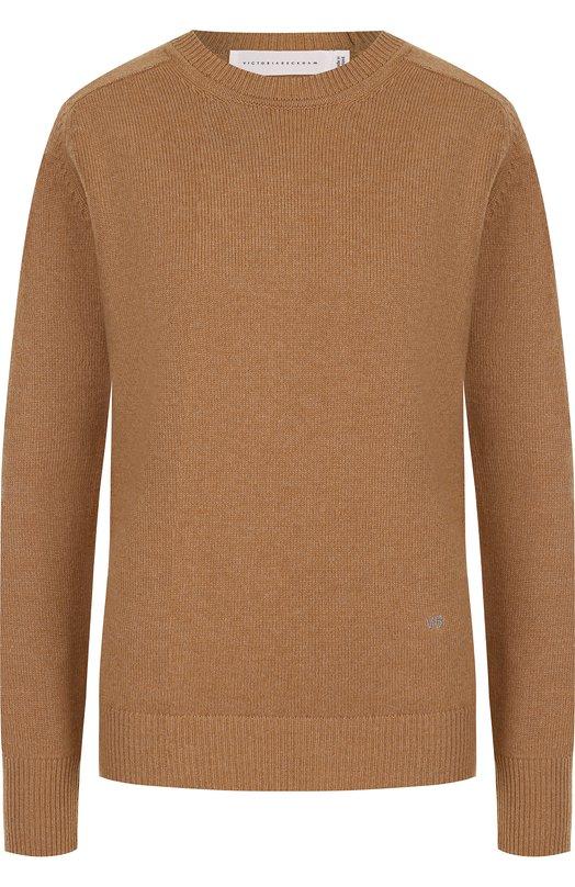 Купить Однотонный кашемировый пуловер с круглым вырезом Victoria Beckham, JU KNT 7308 PSS18 CASHMERE VK2034, Великобритания, Бежевый, Кашемир: 100%;
