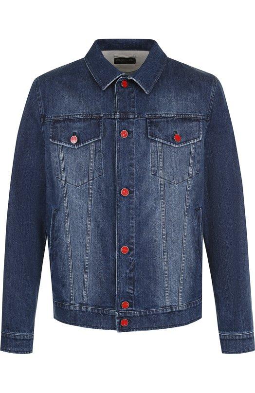 Купить Джинсовая куртка на пуговицах с потертостями Kiton, UW0374V08P1401007, Италия, Темно-синий, Хлопок: 98%; Эластан: 2%;