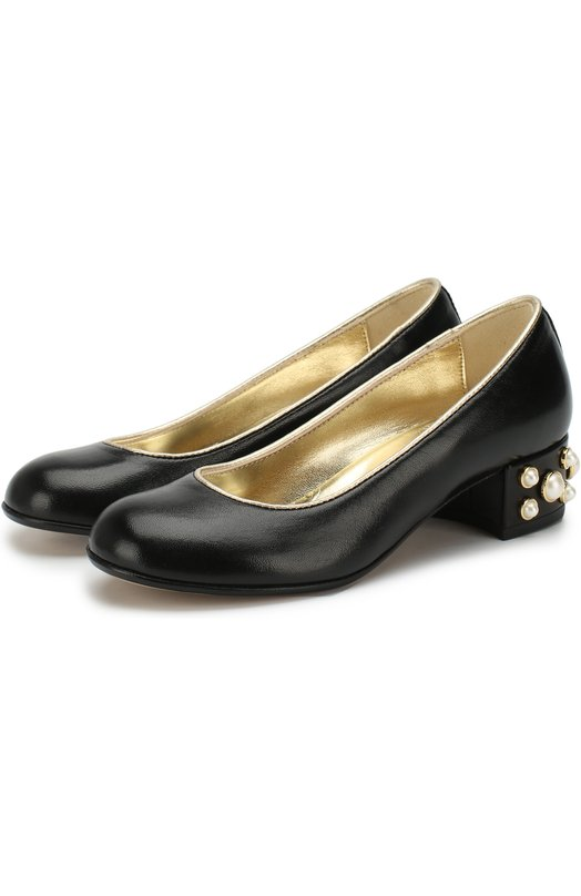 Купить Кожаные туфли с декором на каблуке Missouri, 78010/27-30, Италия, Черный, Кожа натуральная: 100%; Стелька-кожа: 100%; Подошва-кожа: 100%;