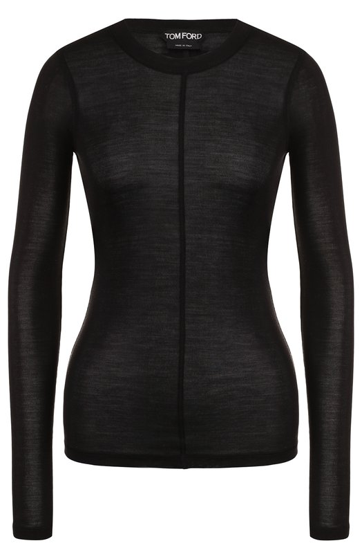 Купить Приталенный шелковый пуловер с круглым вырезом Tom Ford, TSJ196-FAX290, Италия, Черный, Шелк: 100%;