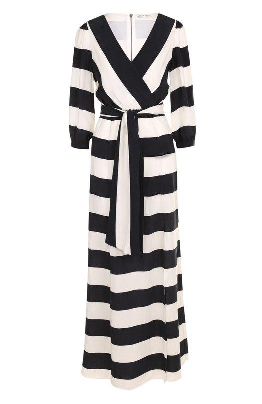 Купить Платье-миди в контрастную полоску с широким поясом Alice + Olivia, CC711P07501, Китай, Черно-белый, Подкладка-полиэстер: 94%; Подкладка-эластан: 6%; Купра: 100%;
