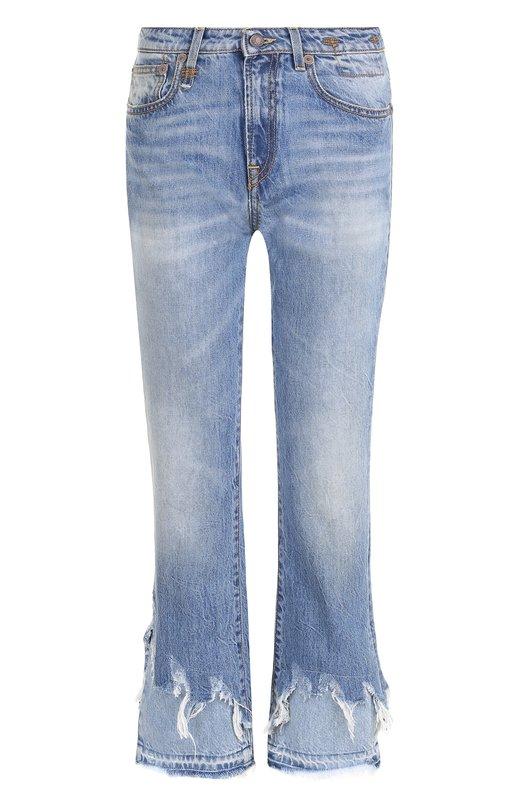 Купить Укороченные расклешенные джинсы с потертостями R13, R13W0119-147, Италия, Голубой, Хлопок: 100%;