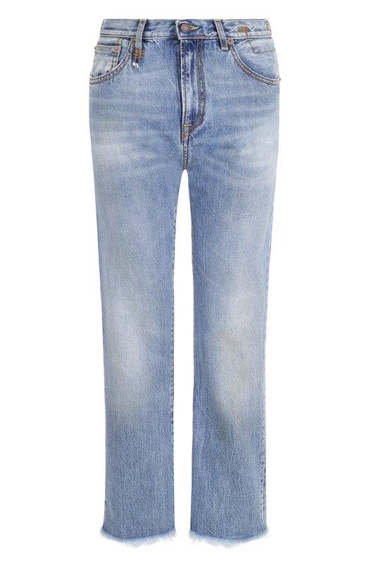 Купить Укороченные расклешенные джинсы с потертостями R13, R13W0180-145, Италия, Голубой, Хлопок: 100%;